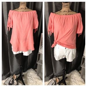 Tops - Pink Coral Off Shoulder Top with Tie Sleeve Detail